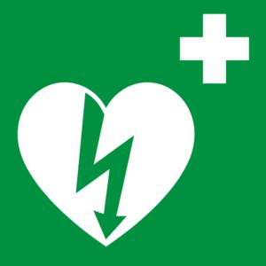 Hinweisschild auf einen verfügbaren Defibrillator in der Schweiz
